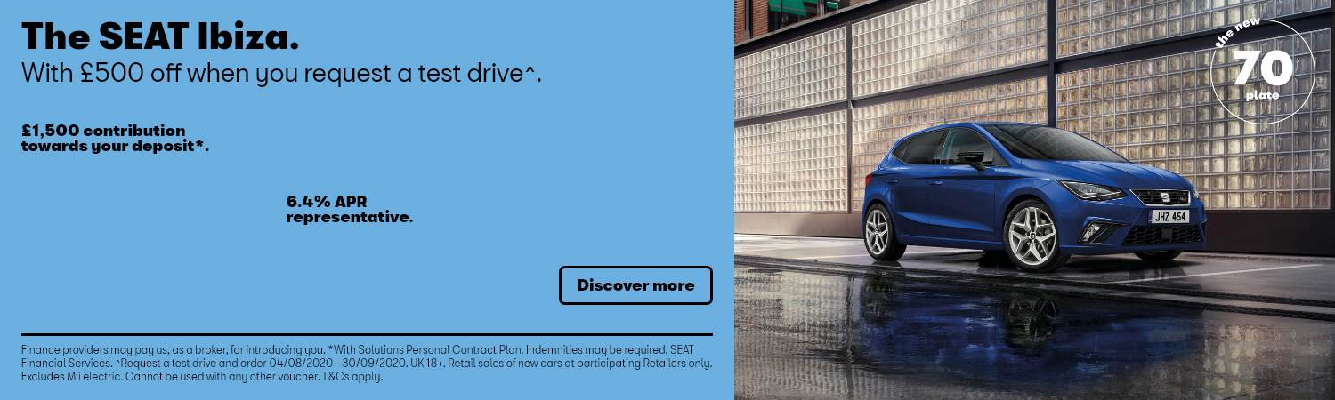 SEAT Ibiza £500 off When You Test Drive PCP Offer at Gravells in Pontyberem, Llanelli