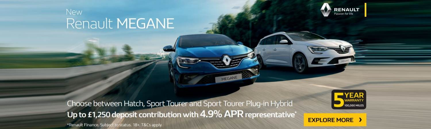 Megane offer for Hatch, ST and Hybrid up to £1,250 deposit contribution and 4.9 APR