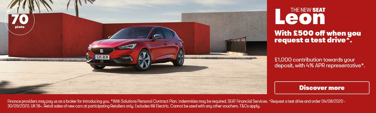 New SEAT Leon £500 off When You Test Drive PCP Offer at Gravells in Pontyberem, Llanelli