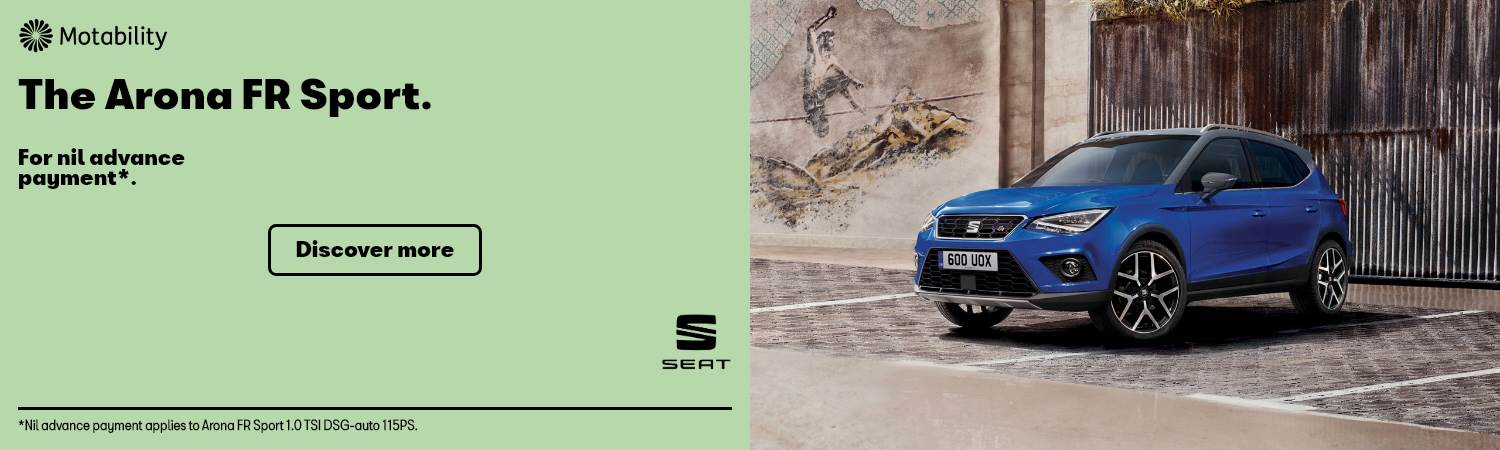 SEAT Arona FR Sport Nil advance payment Motability Offer at Gravells in Pontyberem, Llanelli