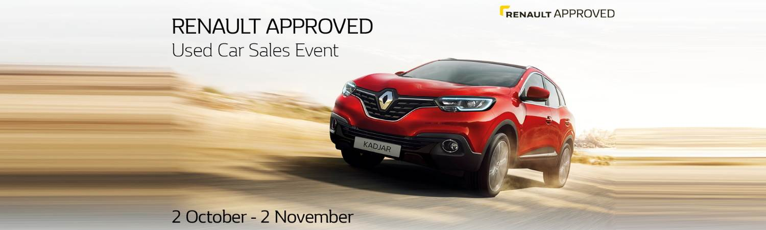 Renault approved used car event banner with red Kadjar car on 2nd october to 2nd november